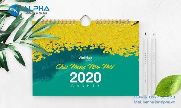 Lịch để bàn VietMoz do Công ty In Alpha Việt Nam thiết kế và in ấn