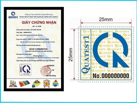 Kích thước của tem hợp quy CR thường là 25×25 mm